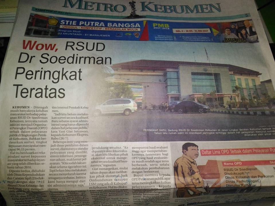 RSUD dr Soedirman Kebumen Menjadi Organisasi Perangkat Daerah Kebumen TERBAIK